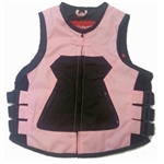 "Women's Pink Textile Motorcycle Vest - ""Icon Style"""