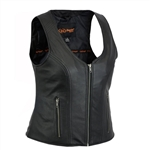 Women's Zip Leather Motorcycle Club Vests
