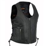 Women's Zip Leather Motorcycle Vests - Sexy Biker