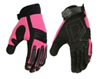 Hot Pink Protective Textile Motorcycle Gloves