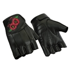 Fingerless Leather Motorcycle Gloves: Embroidered Flower