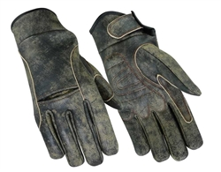 Antique Brown Leather Biker Gloves