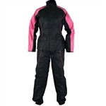 Hot Pink & Black Motorcycle Rain Gear Suit, Ladies Jacket & Pants