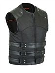 SWAT Men's Motorcycle Vest: Black Textile