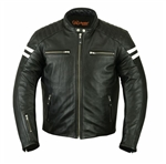 Retro Leather Motorcycle Jackets: Striped Racer
