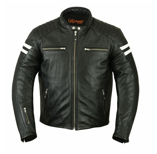 Retro Stripe Men S Leather Motorcycle Jackets Free Shipping