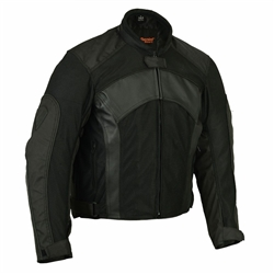 Armored Mesh Leather Motorcycle Jacket for Men