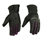 Carbon Fiber Women's Motorcycle Gloves - Purple Hearts