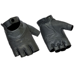 Ladies Fingerless Leather Motorcycle Gloves: Perforated