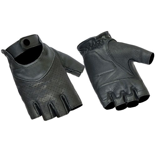 23b9dc7a34c976 Perforated Ladies Fingerless Leather Motorcycle Gloves
