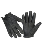 Police Style Leather Gloves: Perforated Motorcycle