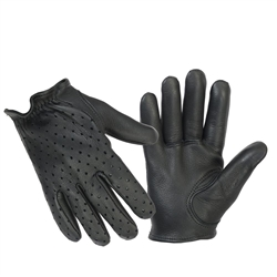 Perforated Motorcycle Police Style Leather Riding Gloves