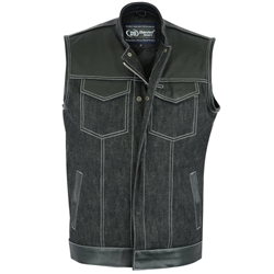 Leather & Black Denim Motorcycle club Vest