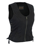 Women's Black Denim Vests - Zip-Up