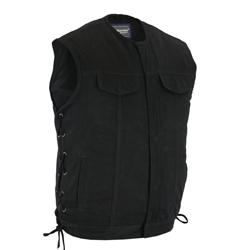 Collarless Black Denim Motorcycle Vest: Side Laces