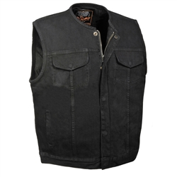 Men's Black Denim Motorcycle Vest: Collarless