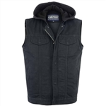 Men's Hooded Black Denim Motorcycle Vest
