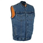 Zipper Classic Blue Denim Motorcycle Vests