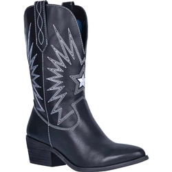 Women's Western Rock-Star Boots, Dingo Black & White