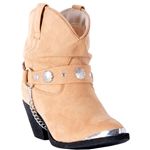 Dingo Women's Western Tan Slouchy Ankle Boots