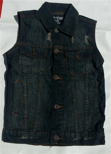 Boys Denim Motorcycle Vest With Collar Leather Bound Online