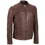 Lightweight Leather Motorcycle Jacket: Brown Moto