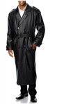 Excelled Mens Leather Trench Coat