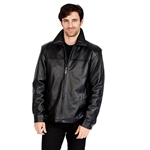 Excelled Mens Lambskin Leather Bomber Jacket