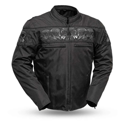 Men's Textile Motorcycle Jacket with Reflective Skulls