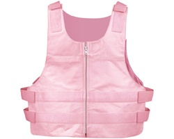 Womens Leather Motorcycle Vest Pink Zip Bullet Proof