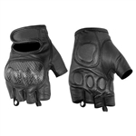 Carbon Fiber Leather Fingerless Motorcycle Gloves