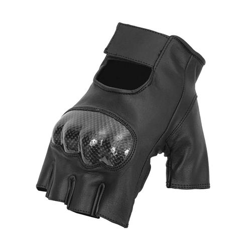 Black Leather Fingerless Biker Gloves
