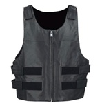 Bullet Proof Style Leather Motorcycle Vest - Zip-Up