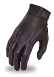 Purple Flames Ladies Leather Motorcycle Gloves, First classics
