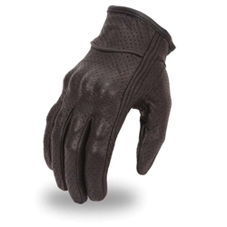 Perforated Leather Motorcycle Glove W/ Knuckle Protection