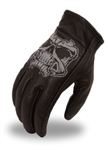 Reflective Skull Leather Motorcycle Gloves