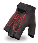 Fingerless Leather Motorcycle Gloves: Red Flame
