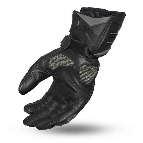 Men/'s Grey Leather//Mesh Racing Sportbike Glove w// Wrist Strap /& Flex Knuckles