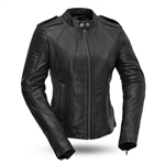 Women's Sexy Biker Leather Motorcycle Jacket from First