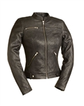 Women's Leather Motorcycle Jackets - Quilted Scooter Jacket