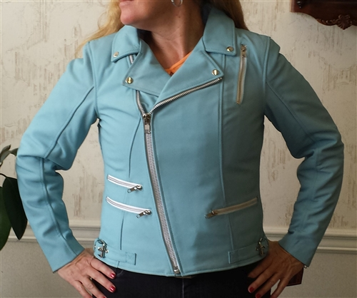 First Powder Blue Leather Motorcycle Jacket On Sale Now