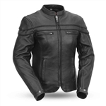 Womens Leather Motorcycle Jacket: Scooter Style
