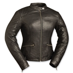 Womens Leather Motorcycle Jackets - Black Diamonds