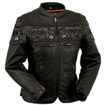 Women's Leather Skull Motorcycle Jacket By First Classics