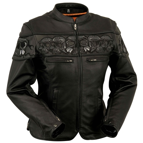 Ladies Soft Leather Motorcycle Jacket Reflective Stripes on Sleeve