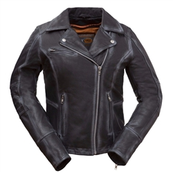 Distressed Ladies Leather Motorcycle Jackets