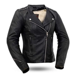 Soft Cowhide Womens Leather Biker Jacket, Black Widow FIL191SDMZ