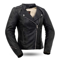 Soft Cowhide Womens Leather Biker Jacket, Black Widow