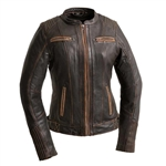Women's Brown Leather Motorcycle Jacket from First