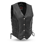 Women's Leather Motorcycle Vests - First MFG Trinity Vest